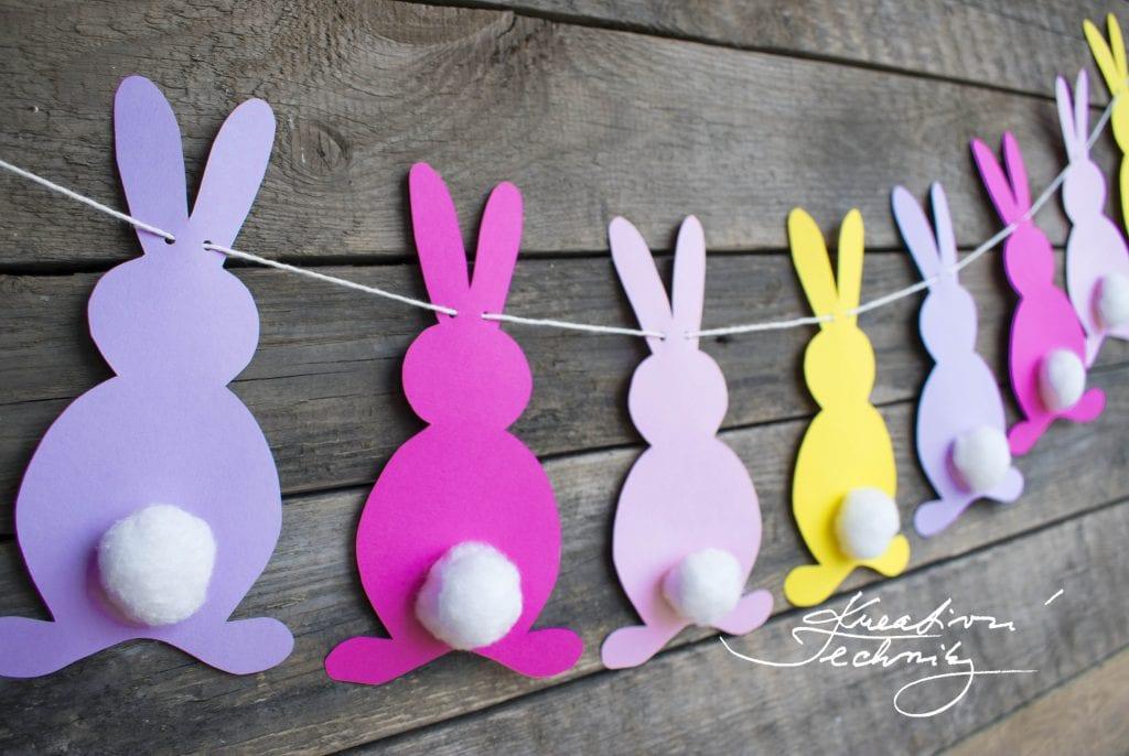 Výroba velikonoční dekorace. Velikonoční girlanda z papíru. Girlanda se zajíčky. Velikonoční zajíček. Velikonoční králíček. Výroba velikonoční dekorace. Velikonoční výzdoba. Velikonoční dekorace z papíru. DIY. Kreativní tvoření.