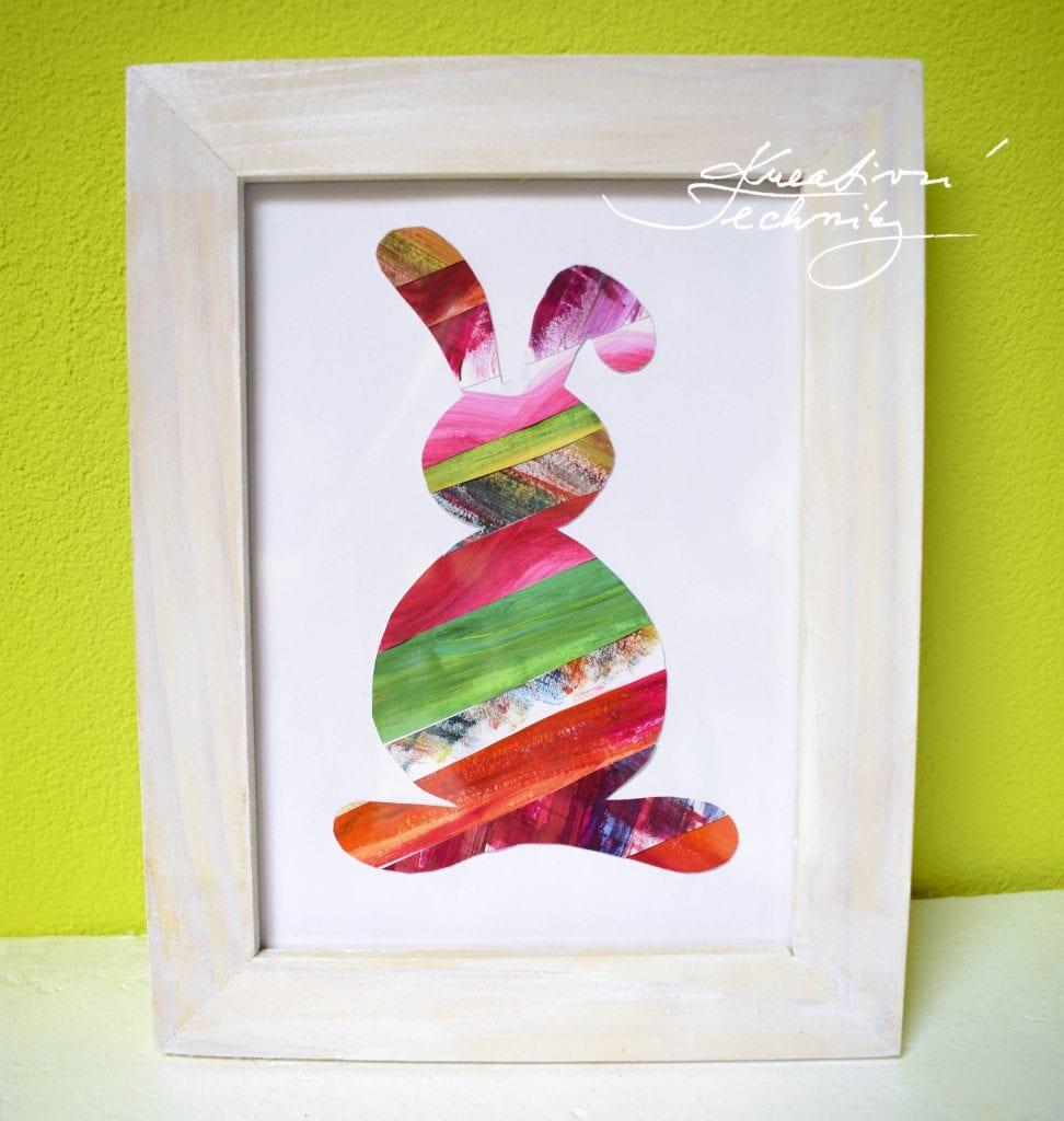 Velikonoční zajíček. Velikonoční dekorace. Velikonoční králíček. Velikonoční obrázek. Výroba velikonoční dekorace z papíru. DIY. Kreativní tvoření.
