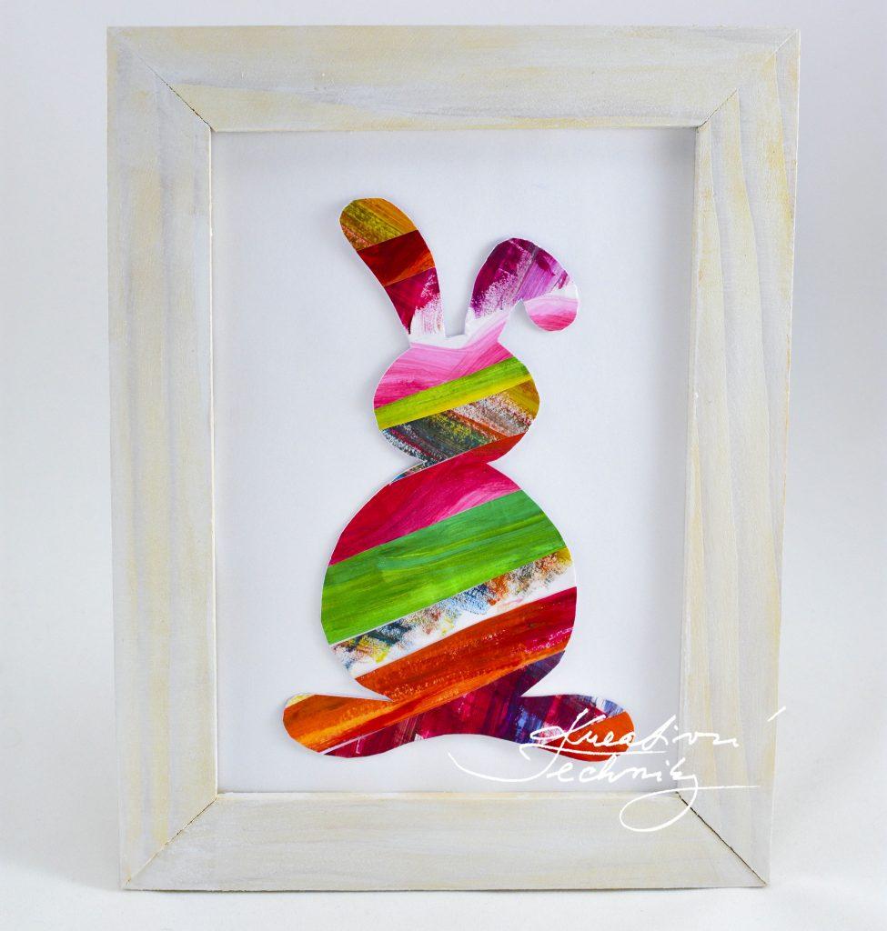 Velikonoční zajíček. Velikonoční dekorace, Velikonoční výzdoba. Velikonoční králíček. Velikonoční obrázek. Výroba velikonoční dekorace z papíru. DIY. Kreativní tvoření.