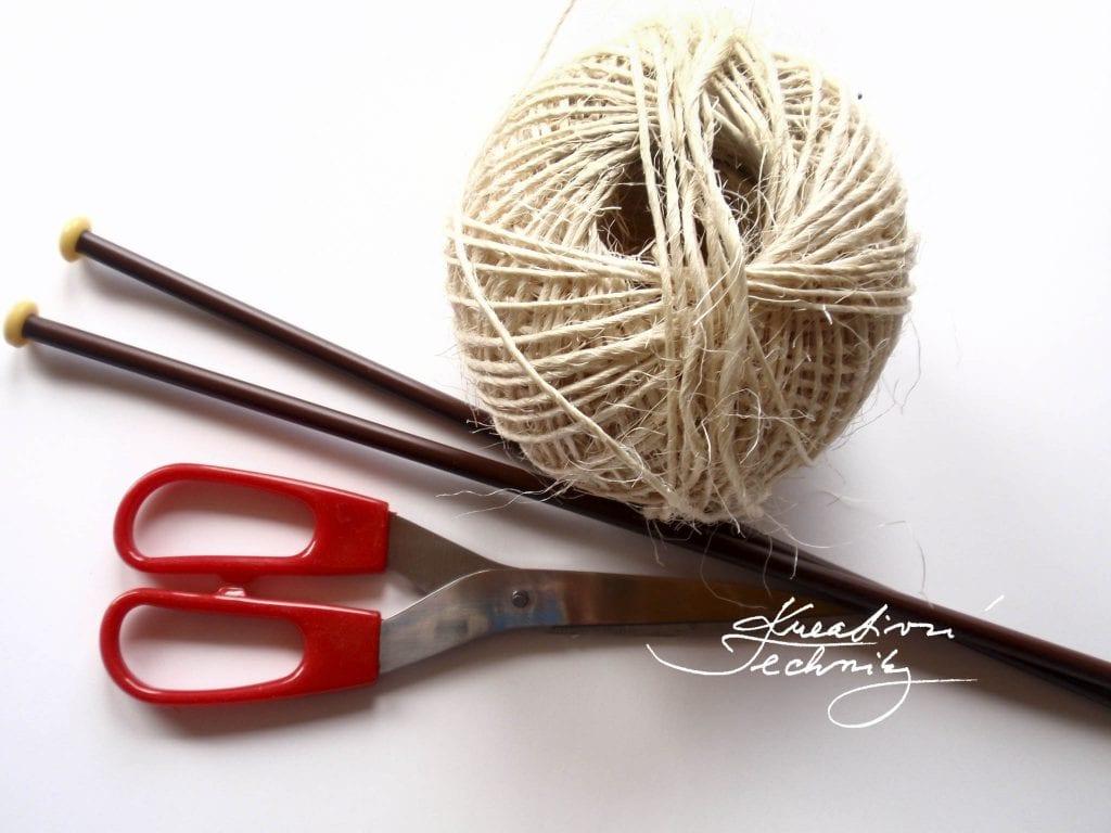 Knitting pattern. Knitting step by step tutorial. Sisal DIY. Sisal crafts.