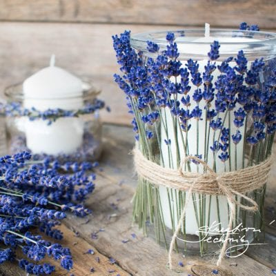 Jar crafts DIY: Lantern with lavender decoration