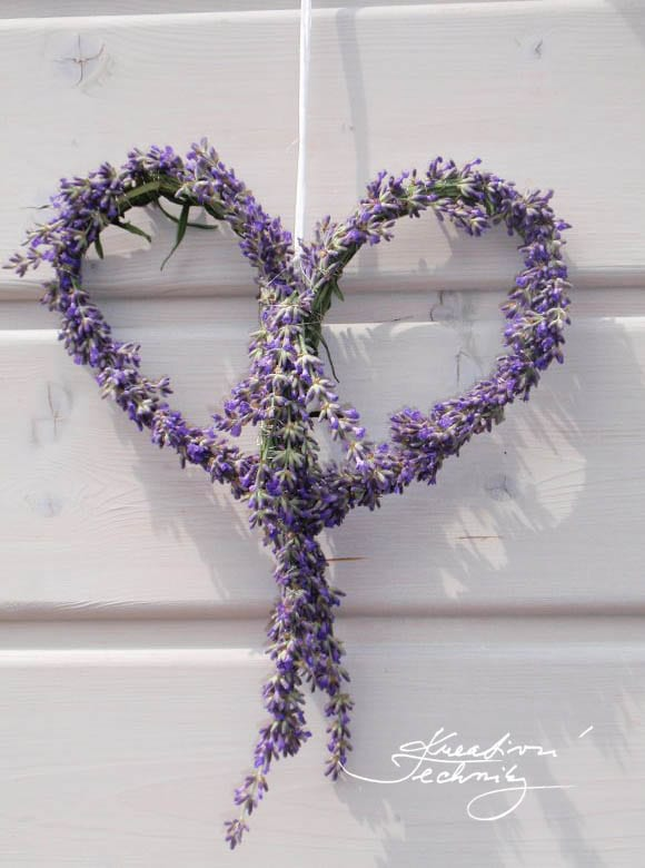Lavender heart decorations. How to make lavender decoration? What to make of lavender? Production of lavender decoration. Lavender wreath. Wreath diy.