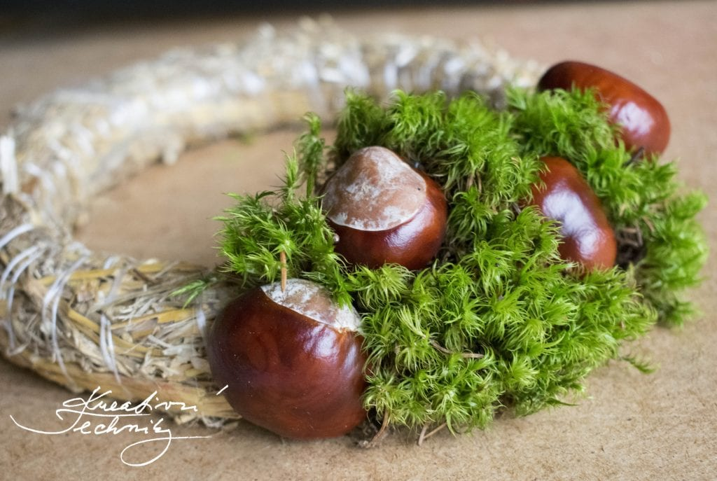 Chestnut decoration. Chestnut Wreath, Moss and chestnuts, Autumn decor, Front door decor, Homemade decoration, Autumn creating, Autumn wreath.